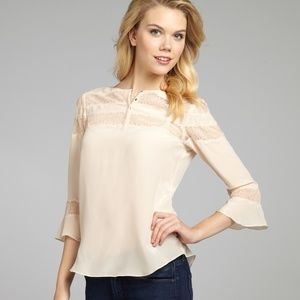 Rebecca Taylor Blush Silk Lace Blouse